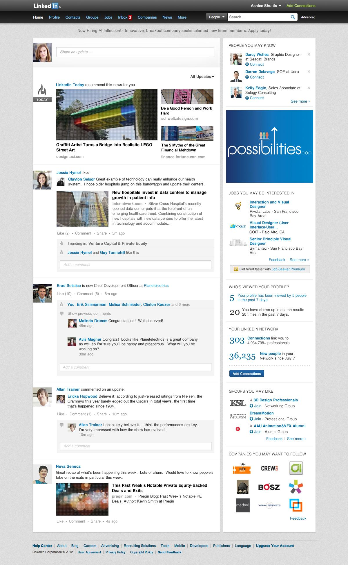 linkedin homepage design