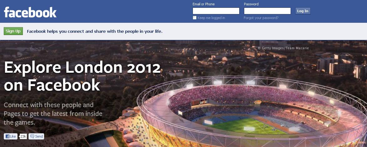 Facebook athelets during london olympics 2012