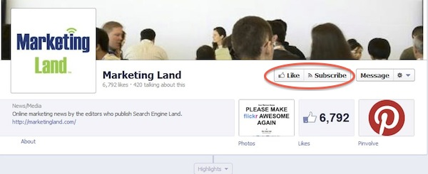 Facebook subscribe button on business page