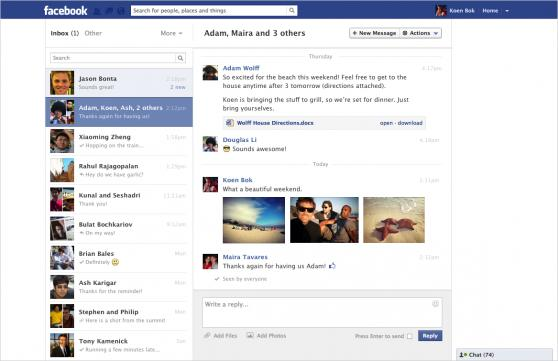 Facebook messages like email inbox
