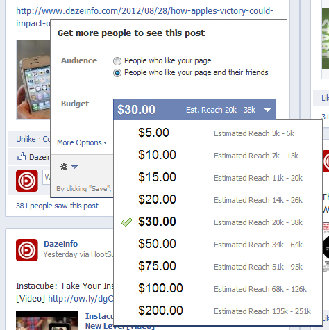 Facebook Promote button
