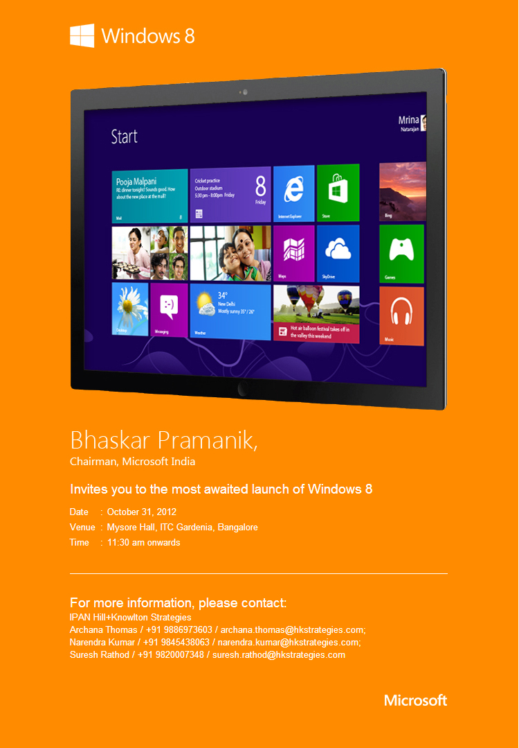 Windows 8 Launch in India Event invitation
