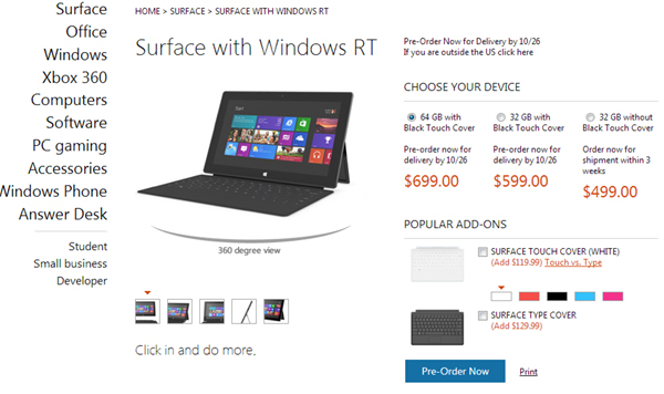 Microsoft Surface prebooking at MicrosoftStore