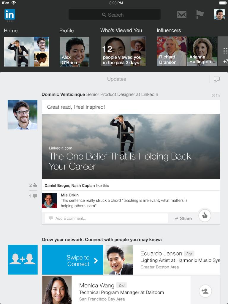 new iPad-App-Homepage LinkedIn