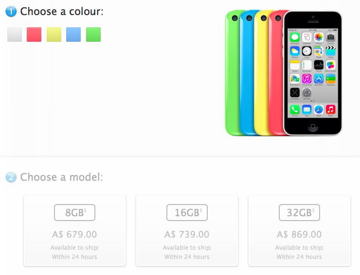 iPhone 5C 8GB price Australia