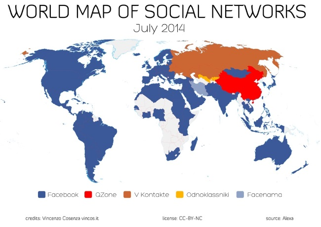 Facebook Inc FB Dominates Countries World Map Of Social - World map canada and usa