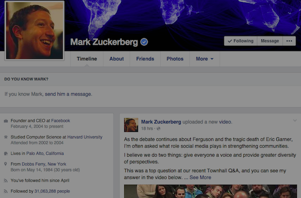 Mark Zuckerberg Post Spam
