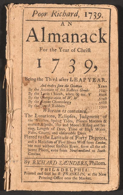 Benjamin Franklin Poor Richard Almanack 1739