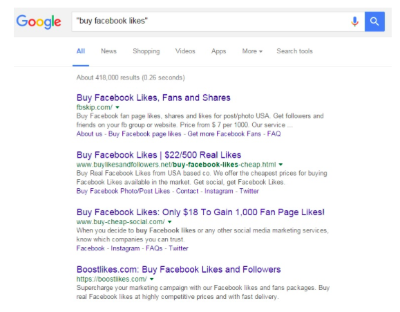 google search on buy facebok likes