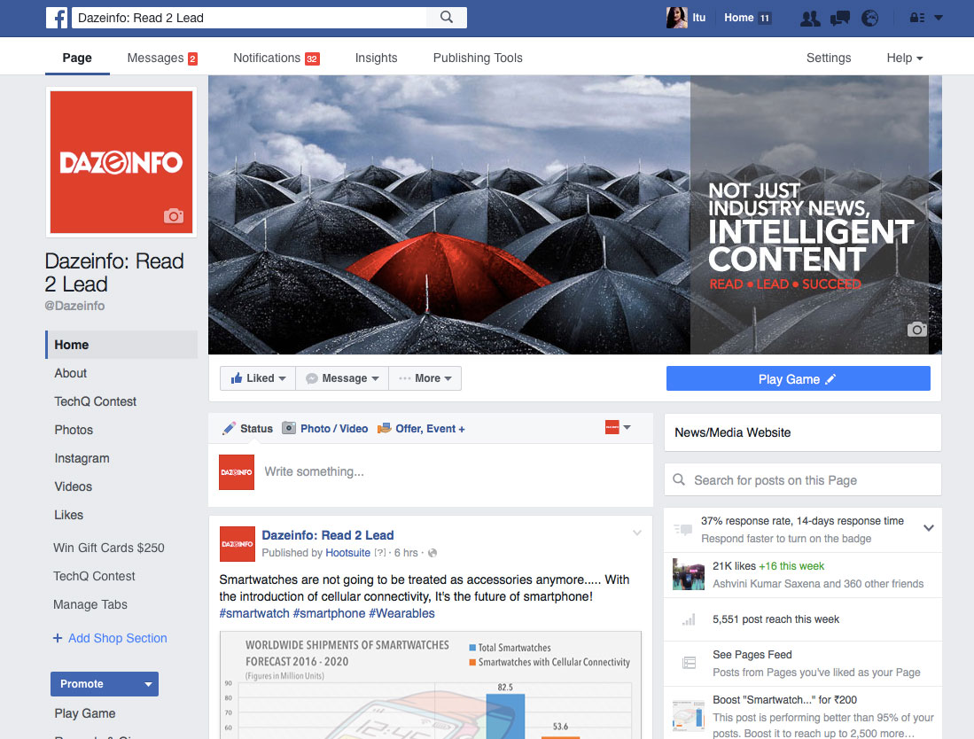 new layout of Facebook pages