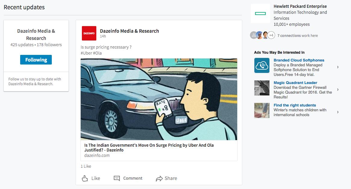 LinkedIn new design of Pages
