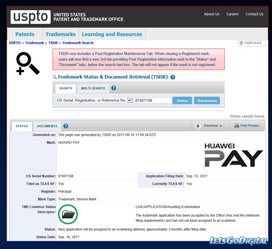 Huawei Pay trademark in the US