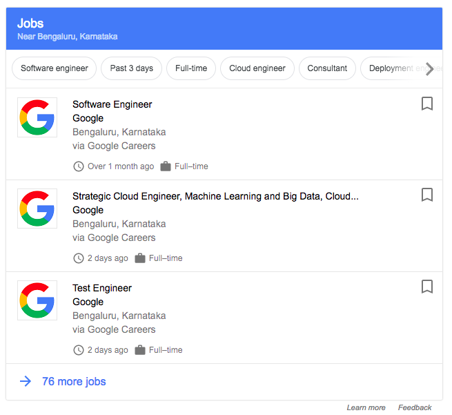 google jobs in india search result