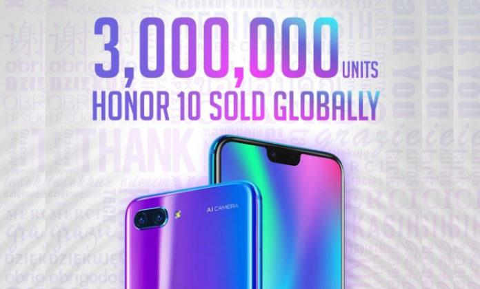 sales of Honor 10 worldwide