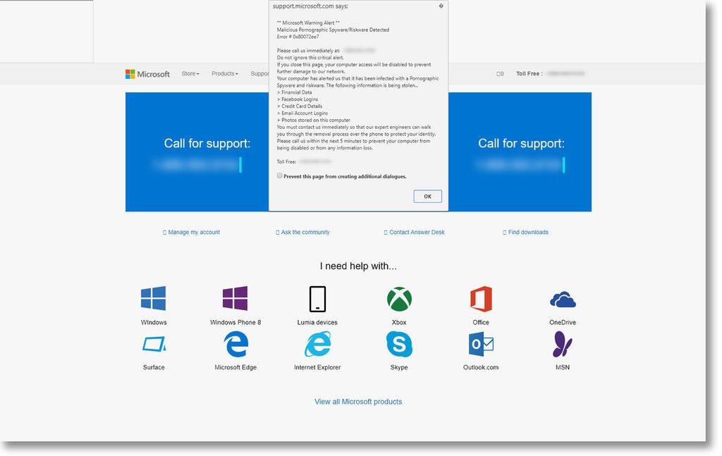Microsoft fake Popup alert