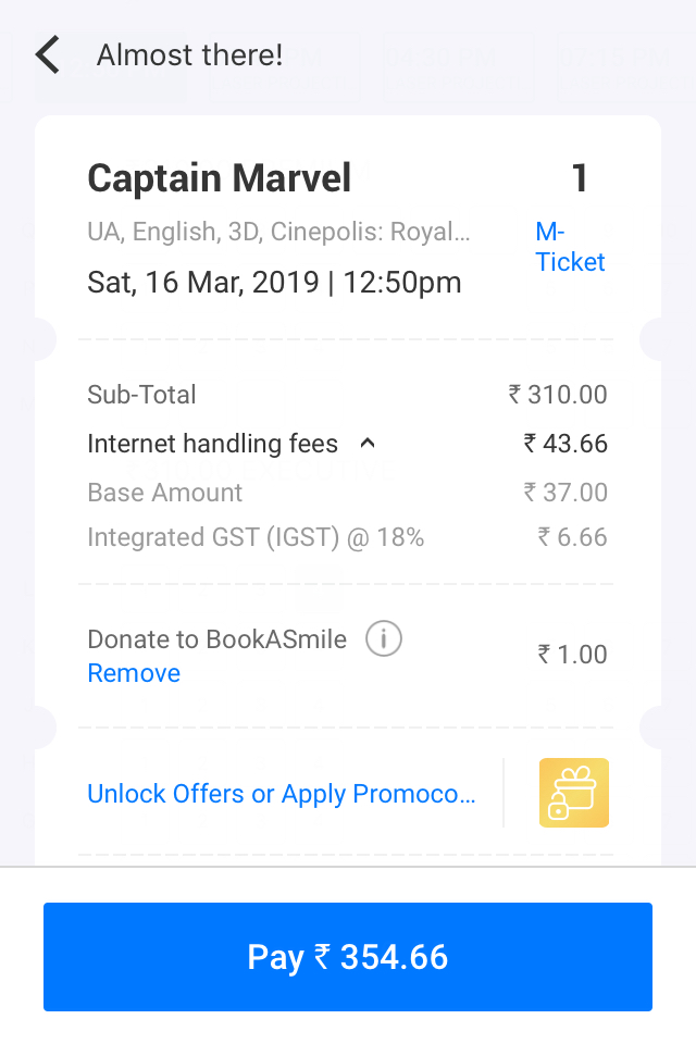 Bookmyshow charges illegal