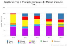Worldwide Top 5 Wearable Companies by Market Share, by Year